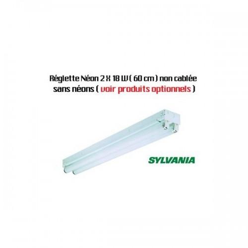 Réglette néon T8 Sylvania 2 X 18 W (60 cm) - non cablée